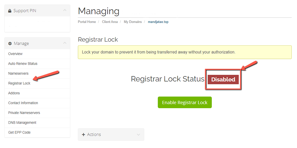 Disabled Registrar Lock A2