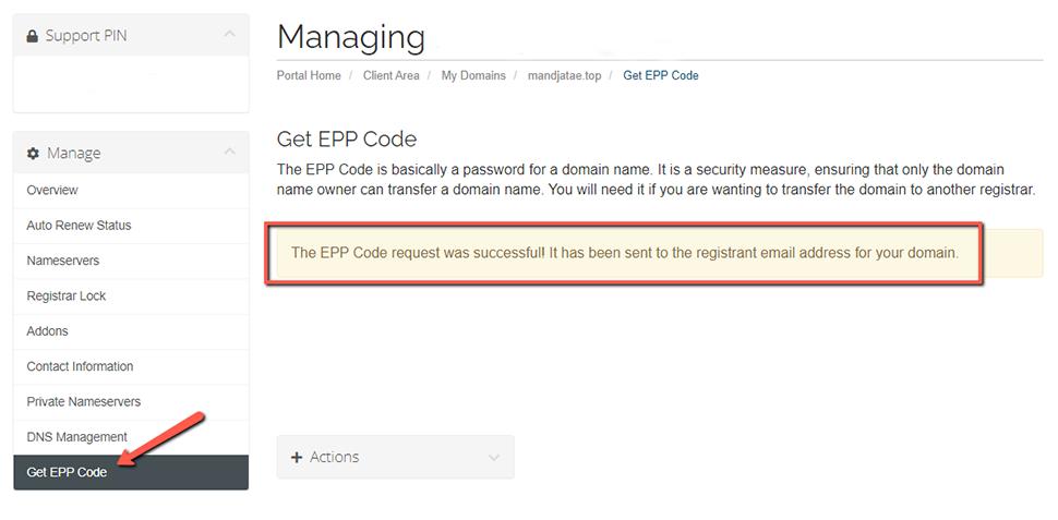 Get EPP Code A2 Hosting