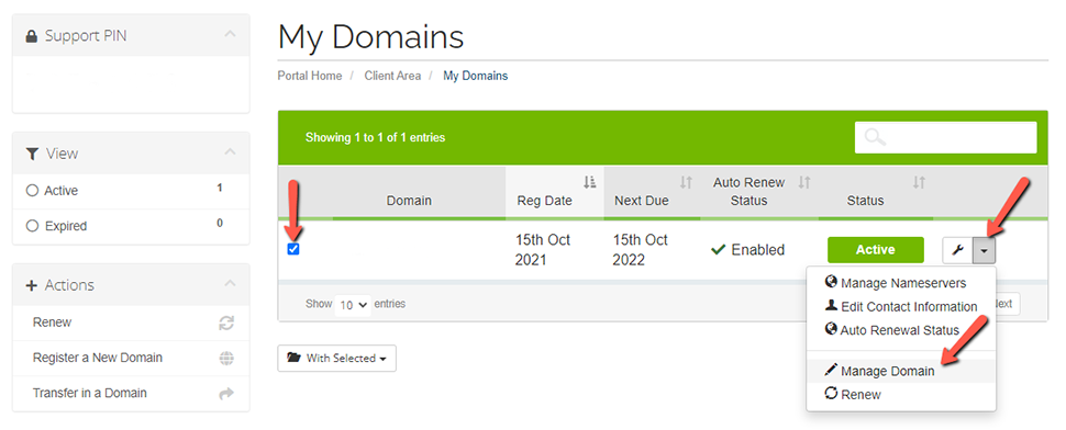 Manage Domain A2 Hosting