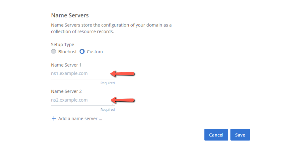 Change Nameservers with Bluehost