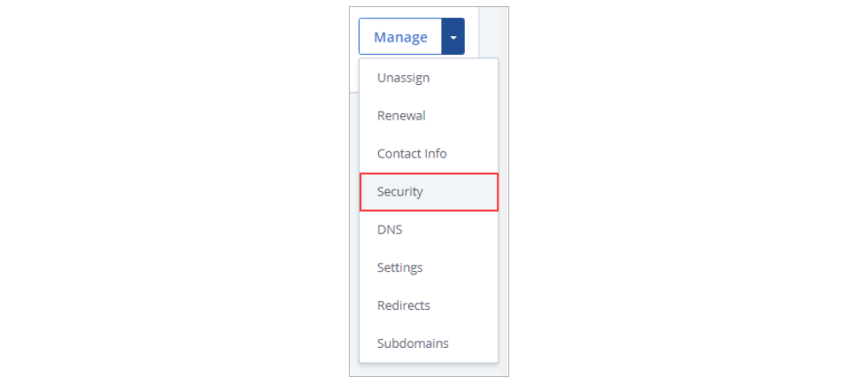 Choose Security from the Drop-down Menu
