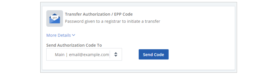 Locate the Transfer Authorization EPP Code