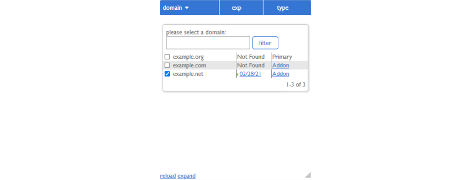 Scroll Down and Select the Domain you Want to Transfer