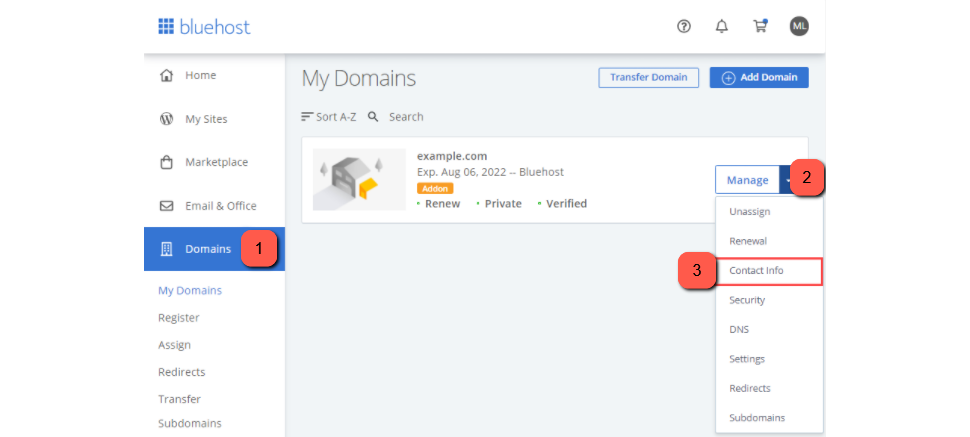 Select Contact Info in Your Bluehost Admin Panel