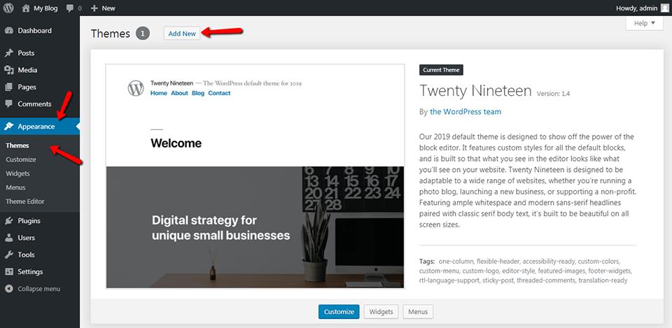 WordPress Appearance Add New Theme