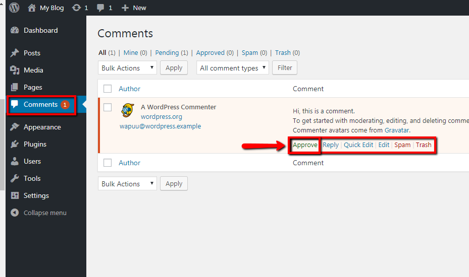 WordPress Comments Screen