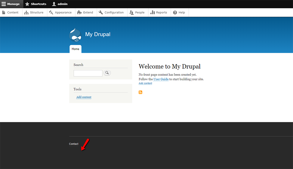 Disabled Powered by Drupal Footer