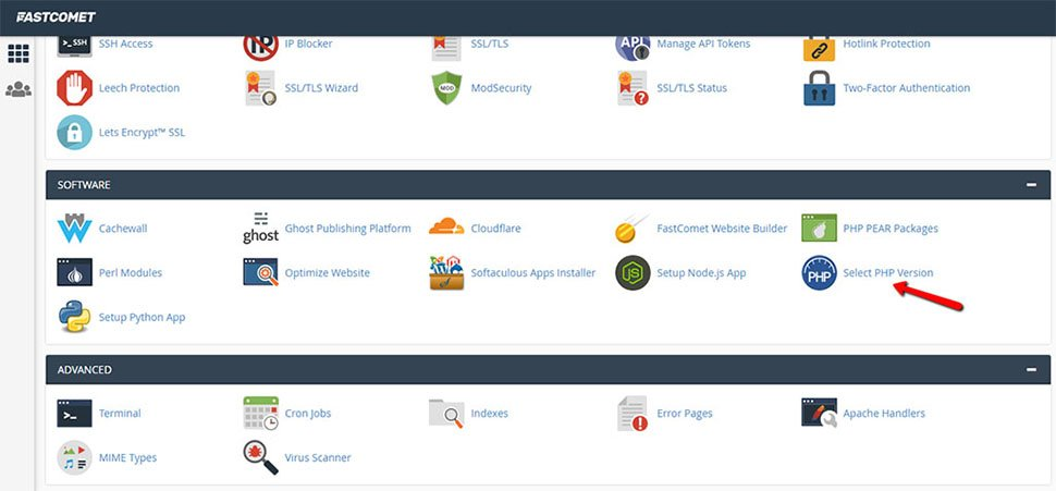 Find PHP Selector in cPanel
