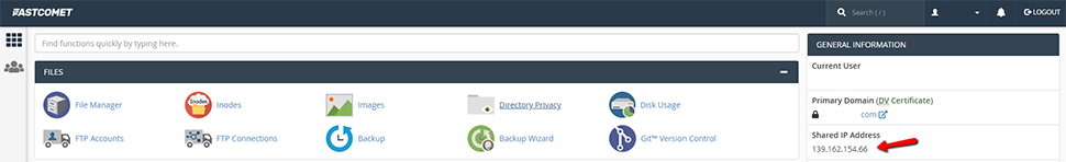 Find Server IP Address in cPanel