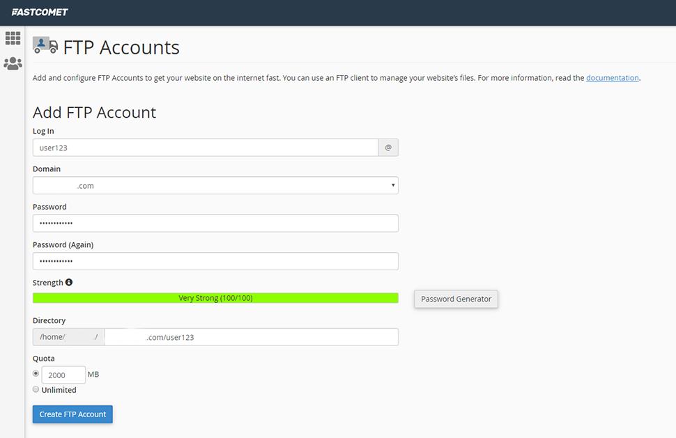 FTP Accounts Screen
