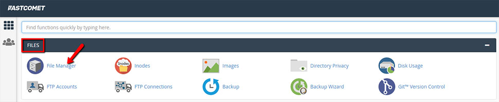 Locate File Manager in cPanel
