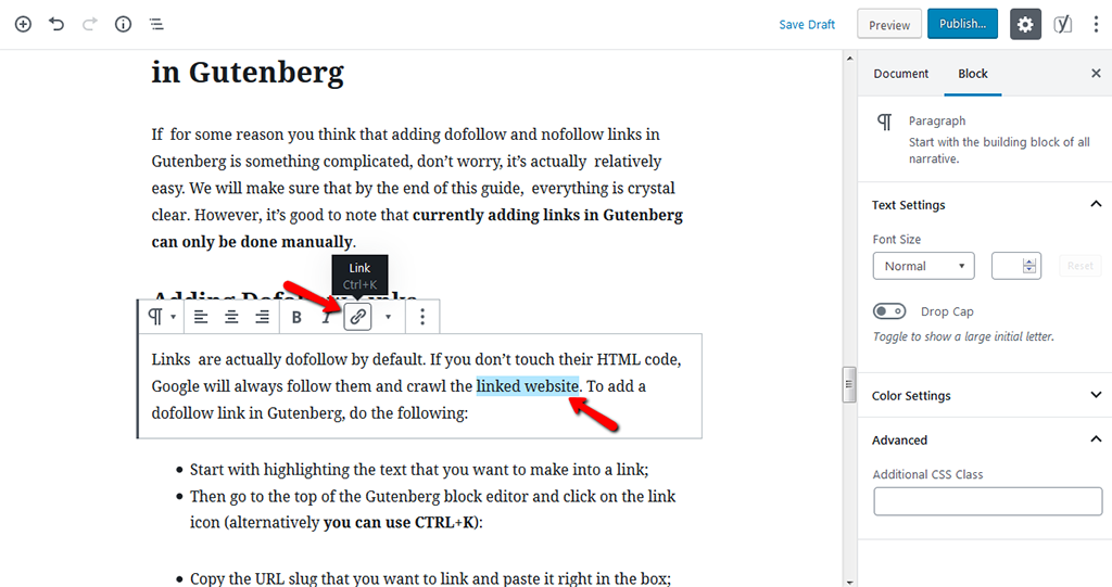 Making Content Into a Link in Gutenberg