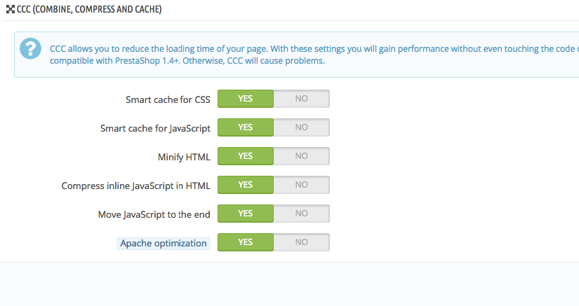 Enable CCC PrestaShop