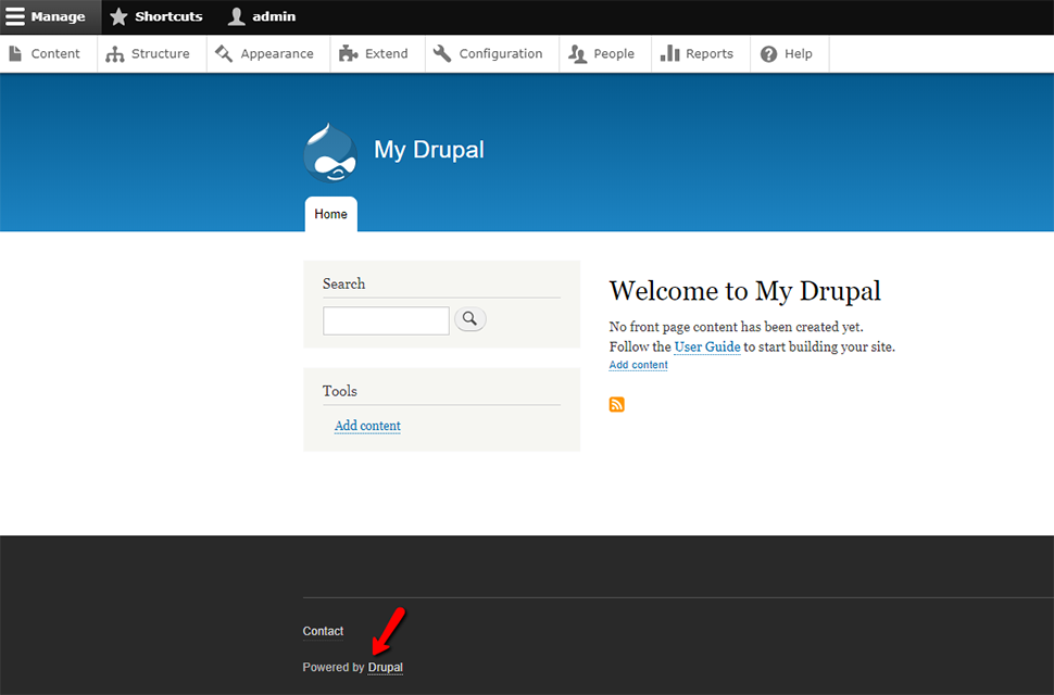 Powered by Drupal Footer Enabled
