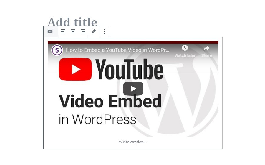 Preview of Embedded Video in Gutenberg