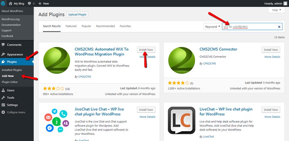Wix to WordPress CMS2CMS Plugin