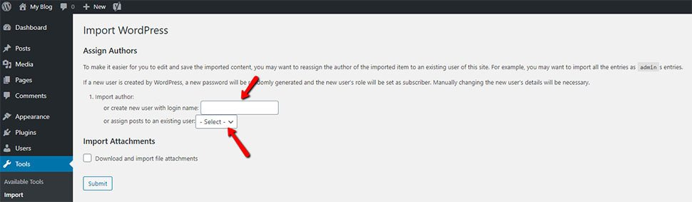 WordPress Assigning Imported Content