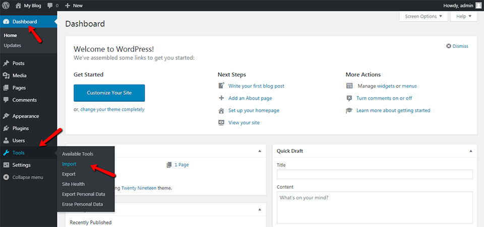 WordPress Dashboard Tools Import