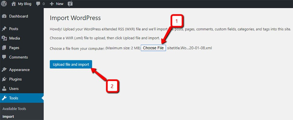 WordPress Upload File and Import