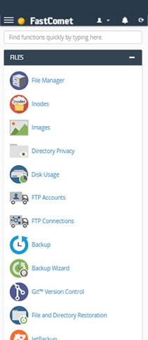FastComet Control Panel Homepage Mobile