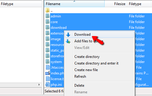 Downloading the files from the old location