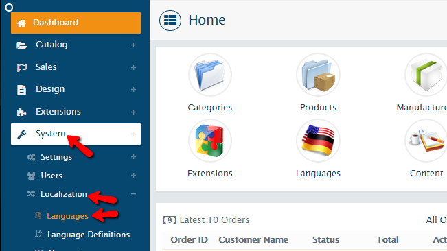 accessing the languages page