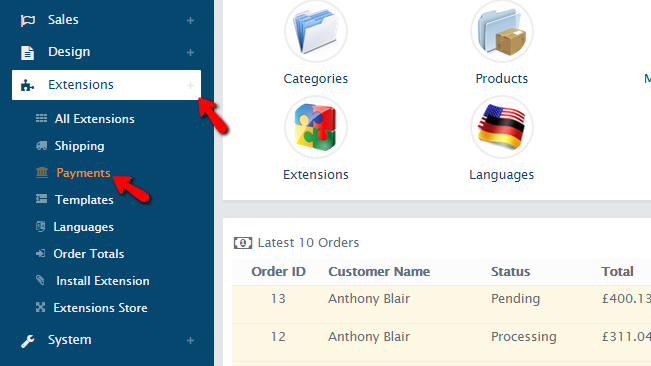 accessing the payments extensions page