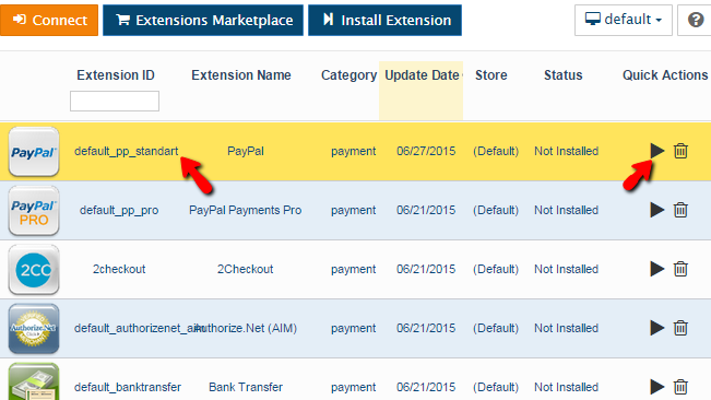 installing payment extension