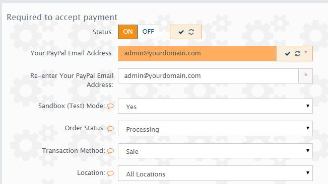 configuring the payment extension