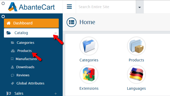 Accessing the products page