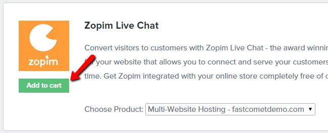 purchasing the zopim free addon service