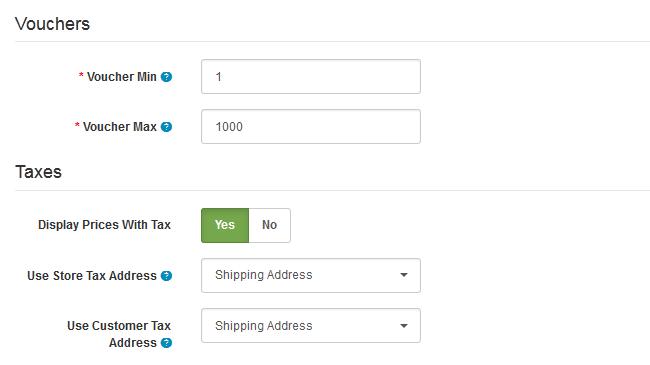Voucher and Tax Options in Arastta