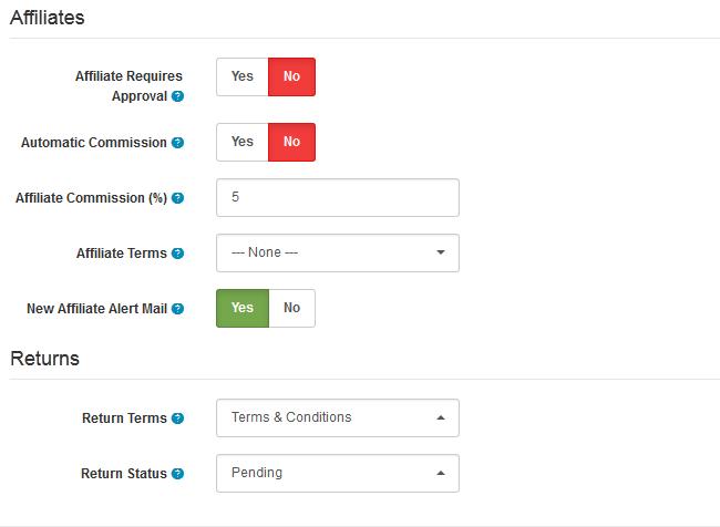 Affiliate and Return Options in Arastta