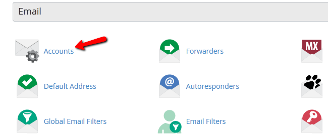 Location of Email Accounts Settings in Cpanel