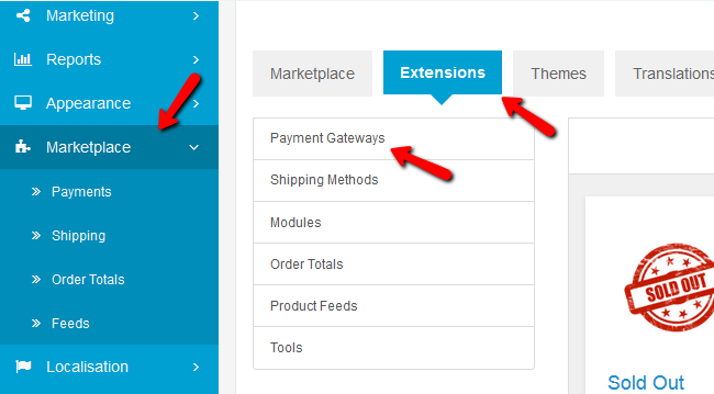Access the Payment Gateways Section of the Extensions Menu in Arastta