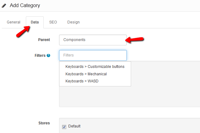 Product Category Data Settings