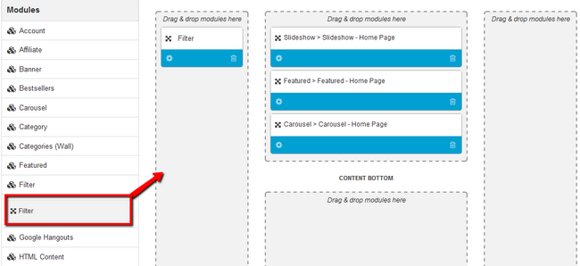 Drag and Drop the Filter Module to the Sidebar in Arastta