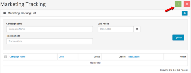 Add new Tracking Link in Arastta