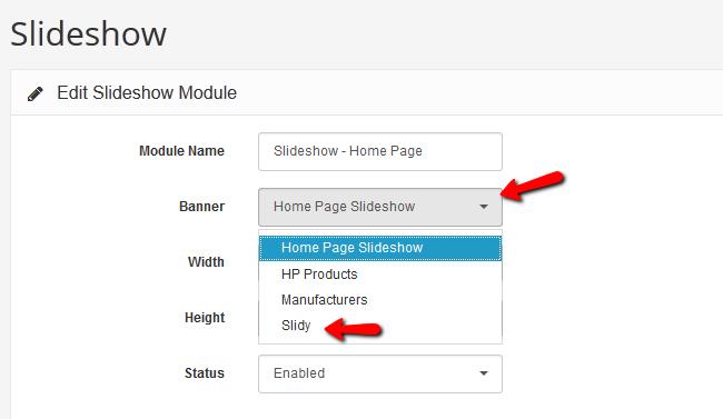 Configuring the Slideshow Module
