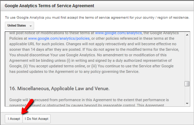 Accepting the Google Analytics Terms of Service Agreement