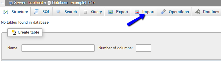 Select Import option to restore b2evolution database