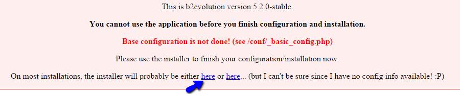 Call b2evolution installation script