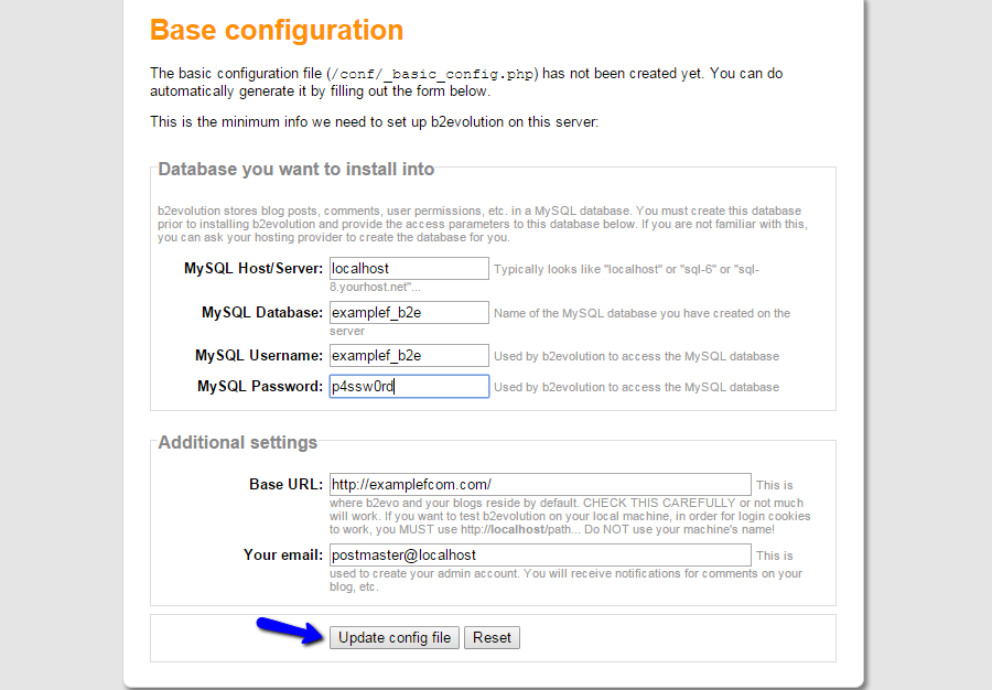 Configure b2evolution basic setup and MySQL details