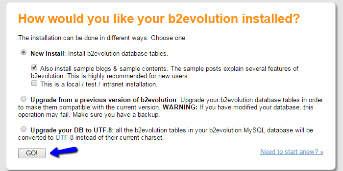 Install Sample data b2evolution