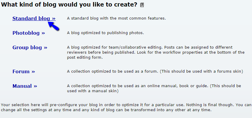 Create a b2evolution standard blog