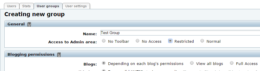Configure a new user group in b2evolution