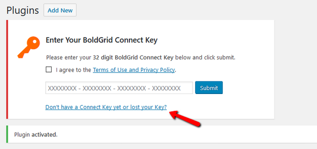 Prompting to enter your 32 digit BoldGrid Connect Key