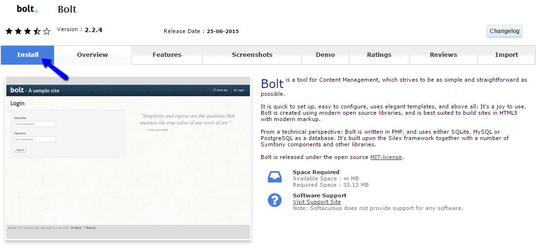 Install Bolt via Softaculous