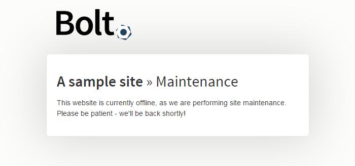 Bolt Maintenance Page