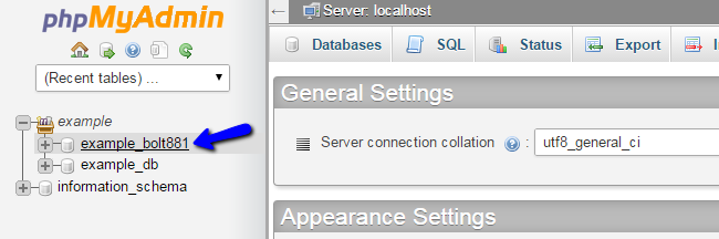 Select a database via phpMyAdmin in cPanel